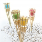 4er Set Bambusfackel mit Kerzenglas gelb grün brom. petrol Gartenfackel 30 cm