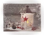 Leinwandbild mit LED-Beleuchtung 30 x 40 cm Wandbild mit Laterne Leuchtbild LED-Bild Weihnachten