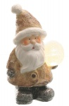 Weihnachtsmann Deko-Figur mit LED-Kugel LED-Beleuchtung batteriebetrieben Weihnachtsfigur 22 cm Keramik
