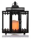 Schöne Laterne schwarz mit LED-Beleuchtung Batterie Timer Dekoration Farbwechsel