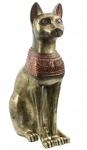 Ägyptische Bastet Katze Statue Gold 72 cm hoch Gartenfigur Gartenkatze