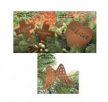 4er Set Gedenkstecker für Grabschmuck, Grabdekoration, Naturrost, Trauerdeko
