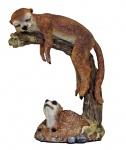 Erdmännchen auf Baumstumpf Scharrtier Skulptur Surikate Statue Figur