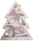 LED Holz Tannenbaum mit Hologramm-Folie 3D-Effekt LED-Lichterkette und Timer Weihnachtsdeko Winterlandschaft mit Weihnachtsmann und Rentiere 40 cm hoch