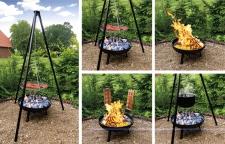 Multi-Grillset Schwenkgrill Feuerschale Emailletopf Fischfilethalter Flammlachs