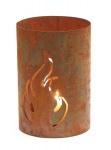 Metall Windlicht Flamme Rost-Deko Naturrost H 20 cm Ø 16, 5cm Kerzenhalter Garten