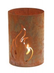 Windlicht Flamme Naturrost H 20 cm Ø 16, 5 cm Kerzenhalter Rost-Optik Dekoration