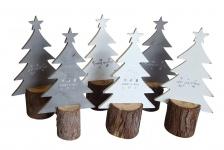 6er Set Tannen auf Baumstumpf Tischdeko Weihnachten Deko Tannenbäume