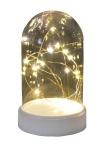 LED-Dekoglocke Lichterkette Käseglocke beleuchtet mit 20 Micro warmweißen LED´s batteriebetriebene Deko
