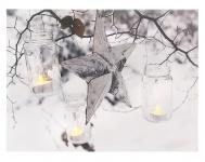 Leinwandbild mit LED-Beleuchtung 30 x 40 cm Wandbild mit Stern und Windlichter