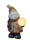 Schneemann Deko-Figur mit LED-Kugel LED-Beleuchtung batteriebetrieben Weihnachtsfigur Keramik 26, 5 cm