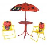 Kinder Gartenmöbel-Set 4-teilig Klappstühle Tisch Sonnenschirm Marienkäfer