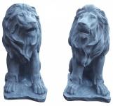 2er Set Dekofigur sitzender Löwe, Skulptur, Statue, Tierfigur, Ambiente, 46 cm