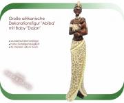 Stolze Afrikanische Massai mit Kind Skulptur Statue handbemalt
