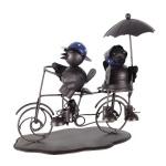 Dekofigur 2 Vögel auf Rad Metall 28 x 14 x 26 cm Deko für Innen und Außen
