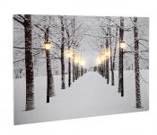 Leinwandbild XL mit LED-Beleuchtung 60 x 40 cm Wandbild Wald Allee im Winter mit 8 Lichtern Leuchtbild LED-Bild