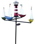 XL LED Solar Windspiel Schiffsregatta Gartenstecker Karussell Gartendeko