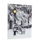 Leinwandbild mit LED-Beleuchtung 30 x 40cm Wandbild Winter mit Bank und Laterne