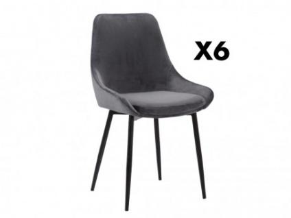Stuhl 6er-Set Samt MASURIE - Grau