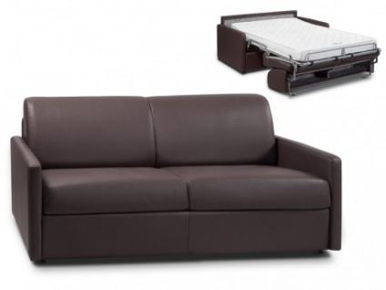 Schlafsofa 3-Sitzer CALIFE - Braun - Liegefläche: 140 cm - Matratzenhöhe: 14cm