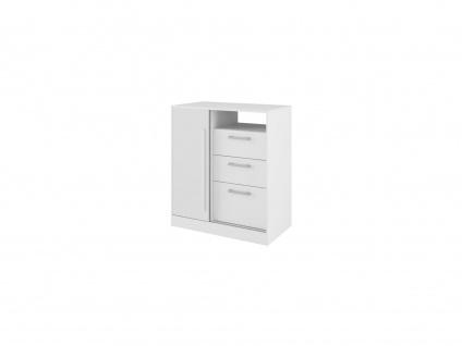 Kommode DEVY - 1 Ablage, 1 Tür & 3 Schubladen - Weiß - Vorschau 3