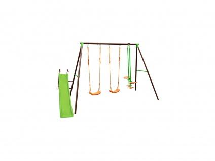 Schaukelgestell mit 3 Schaukeln & Rutsche BLANDINE - Stahl - Mehrfarbig - B354 x T188 x H196 cm