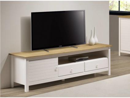 TV-Möbel NEWPORT - 1 Tür & 2 Schubladen - Weiß & Eiche
