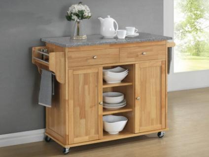 Küchenwagen Servierwagen Holz & Granit DELCIA