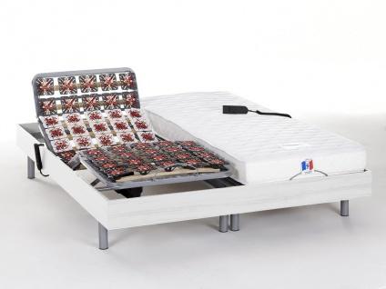 Matratzen elektrischer Lattenrost 2er-Set mit Okin-Motor Homere III - Weiß - 2x 80x200 cm