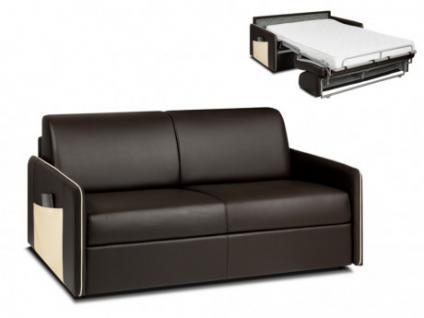 Schlafsofa Express Bettfunktion mit Matratze 3-Sitzer ALADDIN - Braun