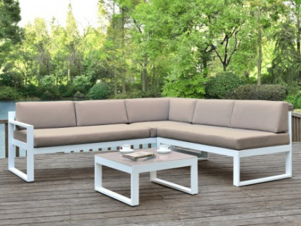 Lounge Sitzgruppe Aluminium PALAOS - Taupe