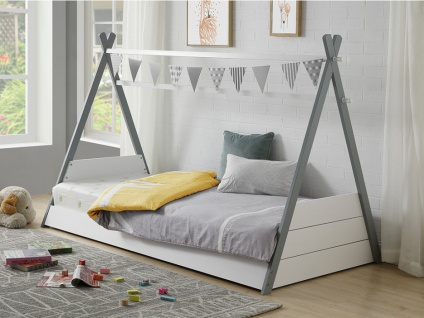 Kinderbett Tipibett SIOUX - 90x190cm - Weiß & Grau