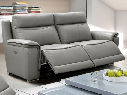 Relaxsofa Leder elektrisch 3-Sitzer Paosa - Grau mit anthrazitgrauer Ziernaht