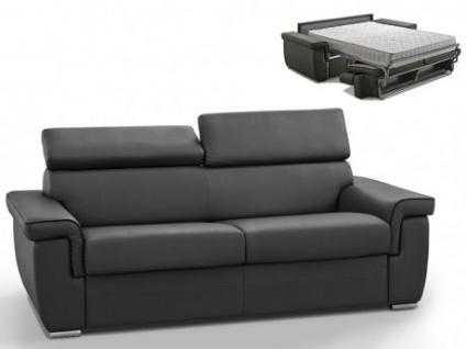 Schlafsofa 3-Sitzer ALTESSE - Anthrazit mit Ziernaht Schwarz - Liegefläche: 140cm - Matratzenhöhe: 22cm