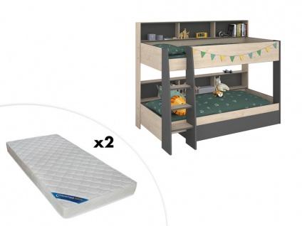 Set PARISOT Etagenbett mit Stauraum TYMEO + 2 Matratzen - 2x90x200cm - Eiche & Anthrazit