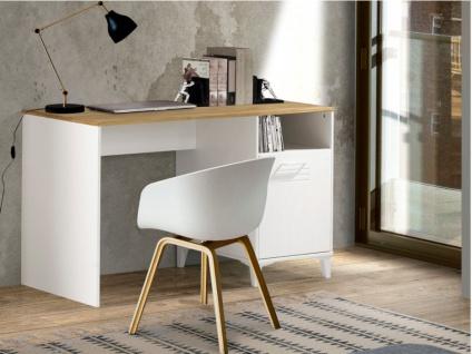 Schreibtisch SEATTLE - 1 Tür & 1 Ablagefach - Weiß & Eiche