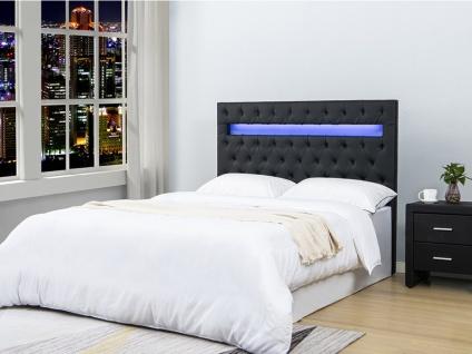 Bett-Kopfteil mit LED-Beleuchtung SUPERNOVA - 160 cm - Kunstleder - Schwarz
