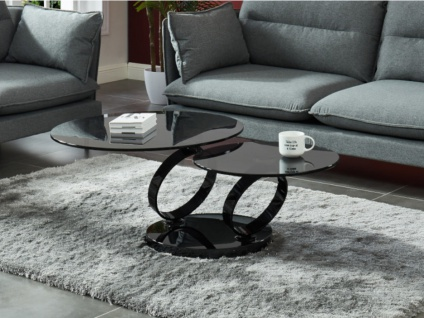 Couchtisch mit drehbaren Tischplatten Sicherheitsglas & Metall JOLINE - Rauchglas/Schwarz