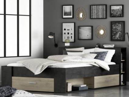 Bett mit Stauraum LEONIS - 140x190cm - Anthrazit/Eichenholzfarben