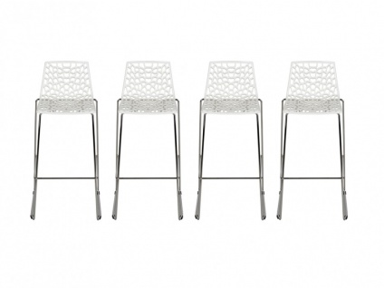 Barhocker 4er-Set Wilton - Polypropylen - Weiß - Vorschau 2