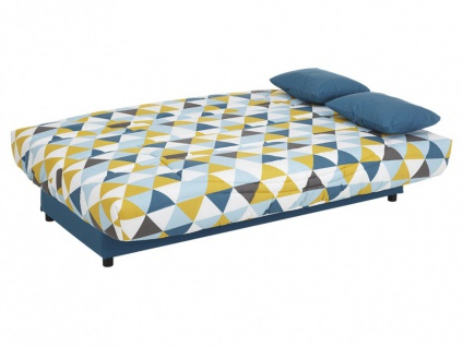 Schlafsofa Klappsofa mit Bettkasten Saloon - Motiv Triangle Blau - Vorschau 4