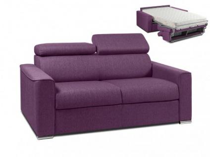 Schlafsofa 2-Sitzer Stoff VIZIR - Violett - Liegefläche: 120 cm - Matratzenhöhe: 18cm