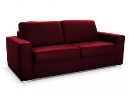 Schlafsofa Leder Express Bettfunktion mit Matratze 3-Sitzer Delectea - Luxusleder - Rot