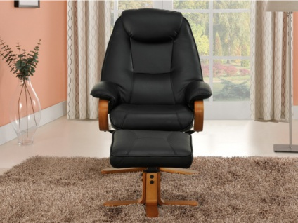 Relaxsessel Fernsehsessel + Sitzhocker Docia - Schwarz - Vorschau 5