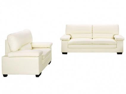 Couchgarnitur Leder 3+1 MIMAS - Büffelleder - Elfenbein