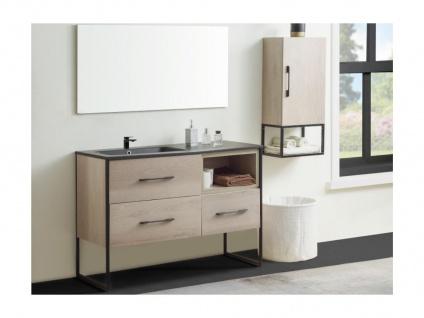 Komplettbad SELANE - Unterschrank + Waschbecken + Spiegel + Regal - Holz-Optik - Vorschau 2
