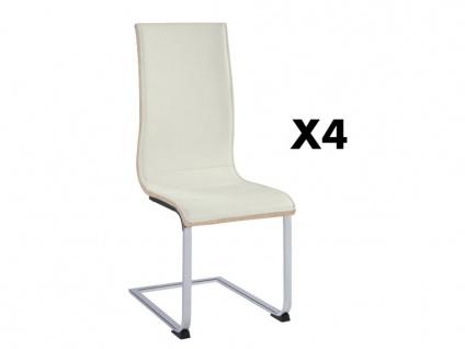 Stuhl 4er-Set AYANE - Eichenholzfarben/Weiß