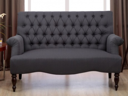 2-Sitzer-Sofa Stoff Barock Manifia - Anthrazit - Vorschau 1