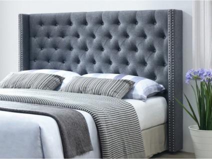 Kopfteil Bett gepolstert Stoff MASSIMO - 160 cm - Grau