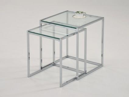 Couchtisch Glas Metall 2er-Set ZURIA